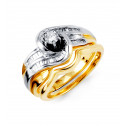 14k Yellow White Gold Solid Round Baguette Diamond Ring