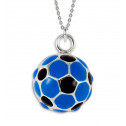 925 Sterling Silver Blue Black Soccer Ball Sports Charm