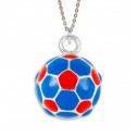 .925 Sterling Silver Blue Red Soccer Ball Sports Charm