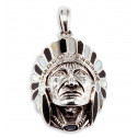Mother of Pearl Onyx Indian Head 925 Silver Pendant