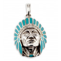 New 925 Silver Teal Enamel American Indian Head Pendant