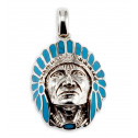 New Native American Indian Turquoise 925 Silver Pendant