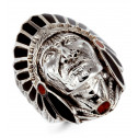 New Onyx Red Agate American Indian Head 925 Silver Ring