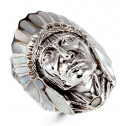 925 Silver Mother of Pearl American Indian Head Ring