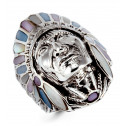 925 Silver Enamel Mother of Pearl American Indian Ring