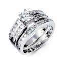 925 Silver White CZ Double Row Engagement Band Ring Set
