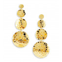 14k Gold Bonded Pebbled Detail Circles Dangle Earrings