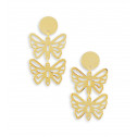 Ladies 14k Bonded Gold Butterflies Duo Dangle Earrings