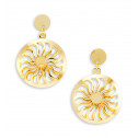 14k Bonded Gold Cut Out Sunshine Round Dangle Earrings