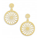 14k Bonded Gold Cut Out Sun Swirl Round Dangle Earrings