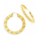 Ladies 14k Bonded Gold Twisted Fashion Hoops Earrings