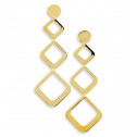 14k Bonded Gold Triple Cut Out Squares Dangle Earrings