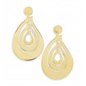 14k Bonded Gold Large Cut Out Teardrop Dangle Earrings