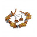 Fashion Orange Mother of Pearl Crystal Bead Necklace Earring Set
