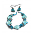 Fashion Turquoise Mother of Pearl Crystal Bead Necklace Earring Set