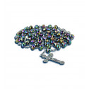Religous Silver Link Multicolor Crystal Bead Rosary Necklace