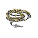 Religious Silver Crucifix Gold Black Beads Rosary Necklace