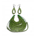 Fashion Green Crystal Bead Strand Necklace Dangling Earring Set