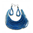 Fashion Blue Crystal Bead Strand Necklace Dangling Earring Set