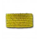 Womens Fashion Yellow Bead Silver Tone Wide Stretch Bracelet