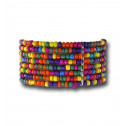 Womens Fashion Multicolor Bead Silver Tone Wide Stretch Bracelet