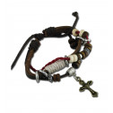 Women Fashion Wood Bead Cross Charm Red Cord Leather Bracelet