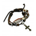 Women Fashion Wood Bead Cross Charm Orange Cord Leather Bracelet