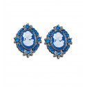 Womens Fashion Blue CZ Diamond Victorian Silver Stud Earrings