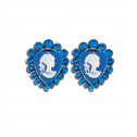 Womens Fashion Blue CZ Diamond Heart Victorian Stud Earrings