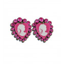 Womens Fashion Pink CZ Diamond Heart Victorian Stud Earrings