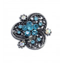 Women Fashion Blue CZ Diamond Fancy Clover Adjustable Ring