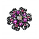 Women Fashion Pink CZ Diamond Victorian Heart Adjustable Ring