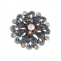 Women Fashion Brown Gold CZ Diamond Victorian Adjustable Ring
