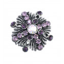 Women Fashion Purple CZ Diamond Fancy Cross Adjustable Ring