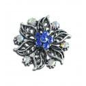 Women Fashion Blue CZ Diamond Fancy Flower Adjustable Ring