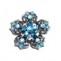 Women Fashion Blue CZ Diamond Fancy Cluster Adjustable Ring