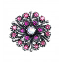 Women Fashion Pink CZ Diamond Fancy Cluster Adjustable Ring