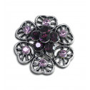 Women Fashion Purple Pink CZ Diamond Heart Cluster Adjustable Ring