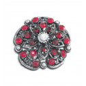 Women Fashion Red CZ Diamond Flower Cluster Adjustable Ring