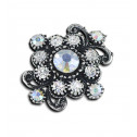 Women Fashion White CZ Diamond Round Cluster Adjustable Ring