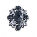 Women Fashion Black Gray CZ Diamond Victorian Adjustable Ring