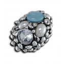 Women Fashion CZ Pearl Blue Bead Oval Cluster Adjustable Ring