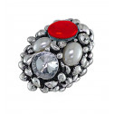 Women Fashion CZ Pearl Red Bead Oval Cluster Adjustable Ring