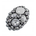 Women Fashion CZ Pearl White Bead Oval Cluster Adjustable Ring