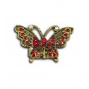 Women Fashion Red CZ Bronze Tone Adjustable Butterfly Ring