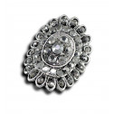 Women Fashion Gray CZ Diamond Oval Cluster Adjustable Ring