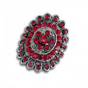 Women Fashion Red CZ Diamond Oval Cluster Adjustable Ring