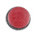 Women Fashion Vintage Button Red Bead Adjustable Ring