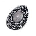 Women Fashion Vintage Swirl Gray Marble Adjustable Ring