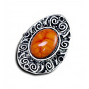 Women Fashion Vintage Swirl Orange Marble Adjustable Ring